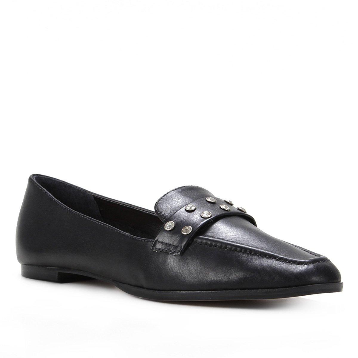 Mocassim Couro Shoestock Gravata Strass Feminino