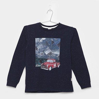 Camiseta Infantil Elian Manga Longa Carro Masculina