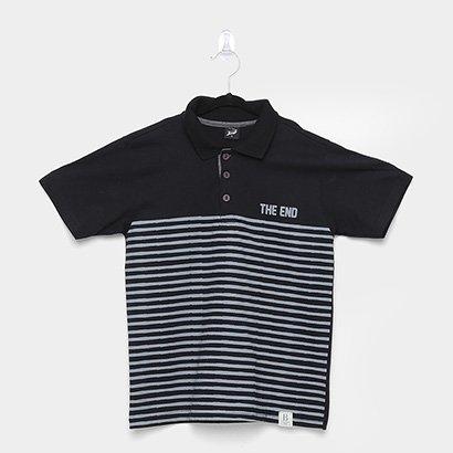 Camisa Polo Infantil Elian Listras Masculina