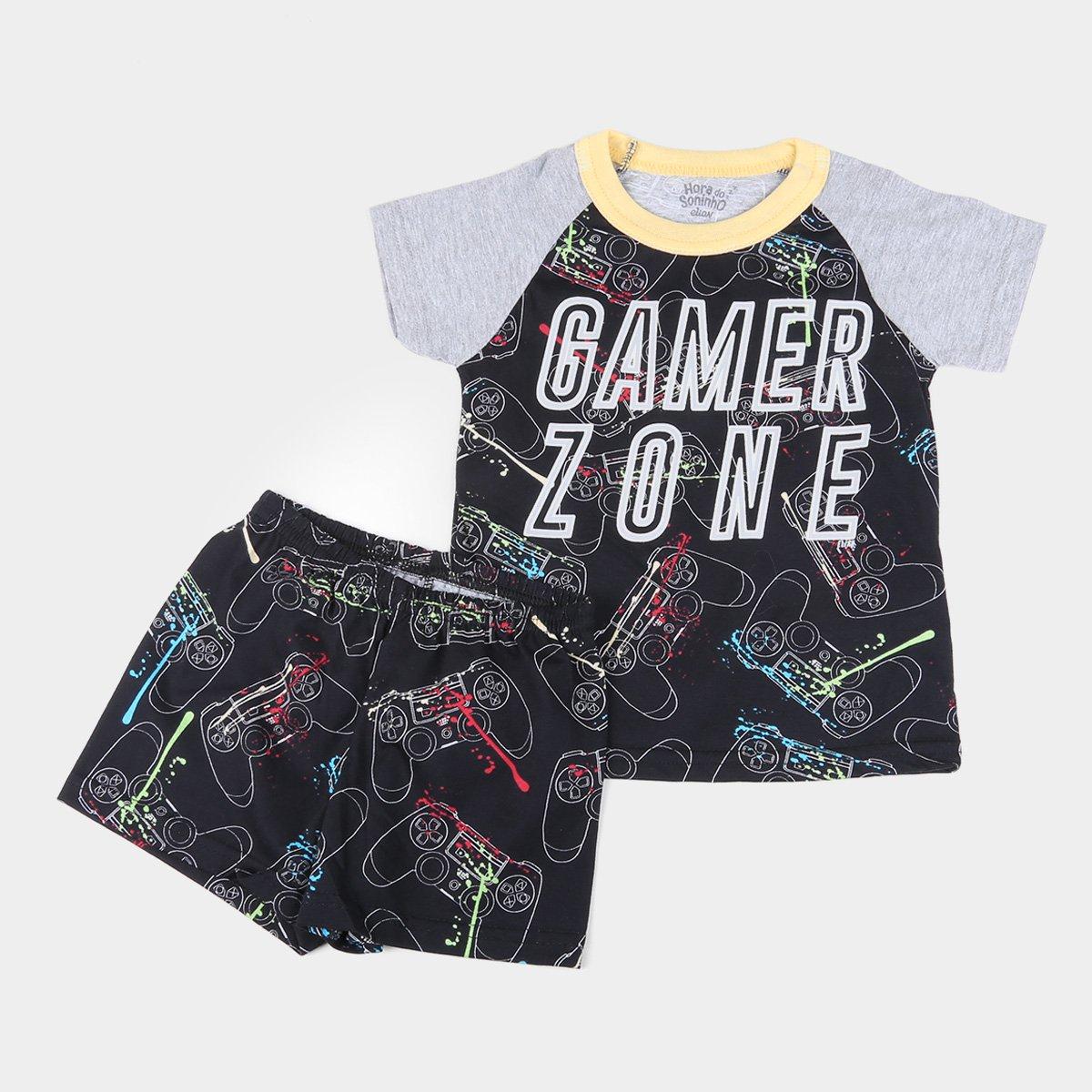 Pijama Curto Bebê Elian Meia Malha Gamer Zone Brilha no Escuro Masculino