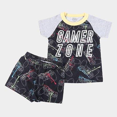 Pijama Curto Infantil Elian Meia Malha Gamer Zone Brilha no Escuro Masculino
