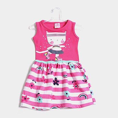 Vestido Infantil For Girl Evasê Listrado Floral