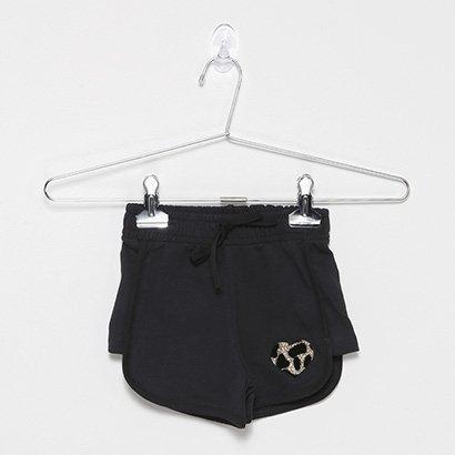 Shorts Infantil For Girl Moletinho C/ Cadarco E Patch-3397