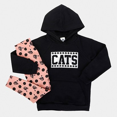 Conjunto Infantil Andritex Longo Cats Feminino
