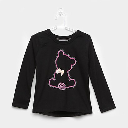 Blusa Infantil Urso Manga Longa Feminina