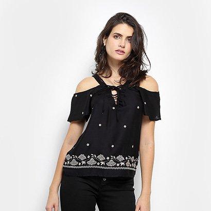 Blusa Open Shoulder Aishity com Bordado Floral Feminina