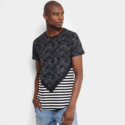 Camiseta Overcore Caveiras Listras Masculina
