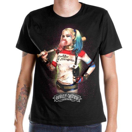 b78bd305e0 Camiseta DC Comics bandUP! Esquadrão Suicida Harley Quinn Bubble Gum - Preto