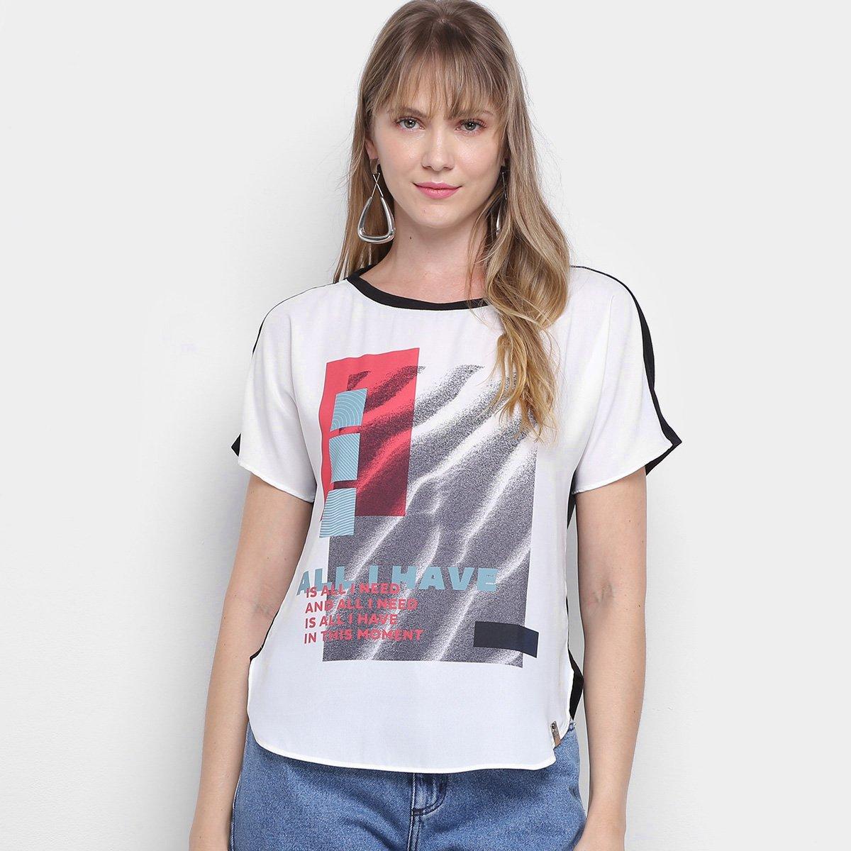 Camiseta Morena Rosa Abertura Lateral Enjoy Growing Feminina