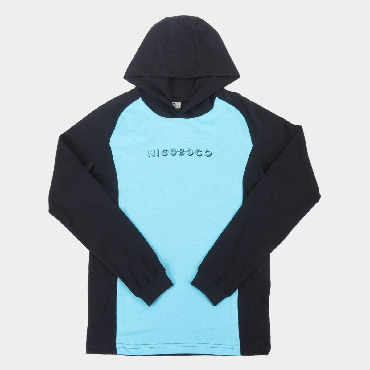 Camiseta Juvenil Nicoboco Manga Longa Water Capuz Masculina