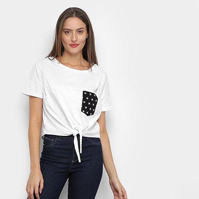Camiseta Drezzup Cropped com Bolso e Amarração Feminina