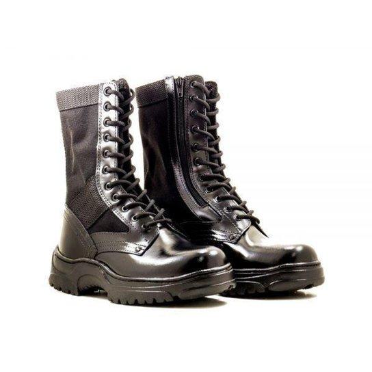 a5cf7a9ecc Coturno Couro Kallucci Militar CCL Ziper Especial - Preto | Netshoes