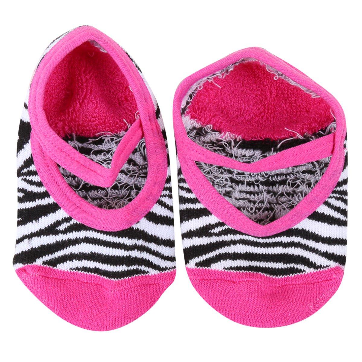 Meia Infantil Cia da Meia Sapatilha Antiderrapante Zebra Feminina
