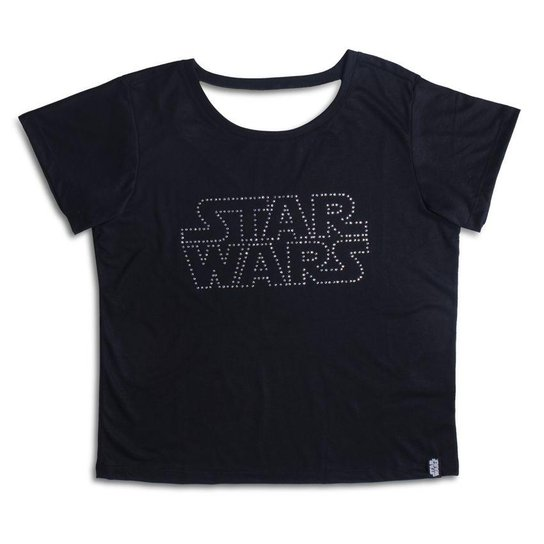 Camiseta Feminina Swarovski Logo Star Wars - Preto - Compre Agora ... 379be6aad65