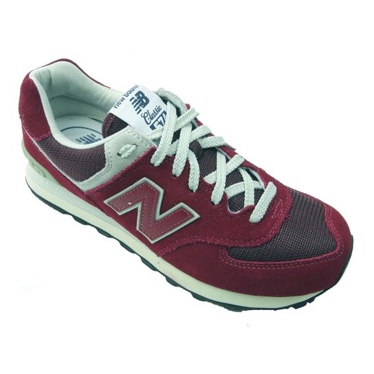 88526dbc5a4 Tênis Casual Masculino New Balance 574 - Bordô Cinza ML574FBR - Bordô+Cinza
