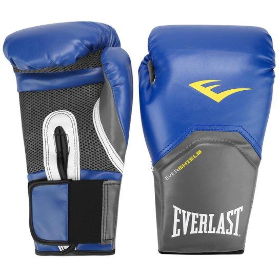 37d0f05cb Luva de Boxe Muay Thai Everlast Pro Style - 14 oz - Azul e Chumbo ...