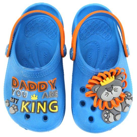 9af9cf0d5 Babuche Plugt Baby King Infantil - Azul Turquesa+Laranja