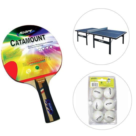 52a4fda4e Kit Mesa de Ping Pong   Tênis de Mesa - 15 mm + Raquete + Blister de ...