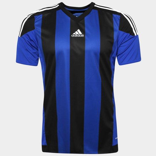 a8d6be39ed467 Camisa Adidas Striped 15 Masculina - Azul e Preto - Compre Agora ...