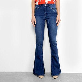 cccf40acf417b Calça Jeans Flare com Fendas Mob Cintura Média Feminina