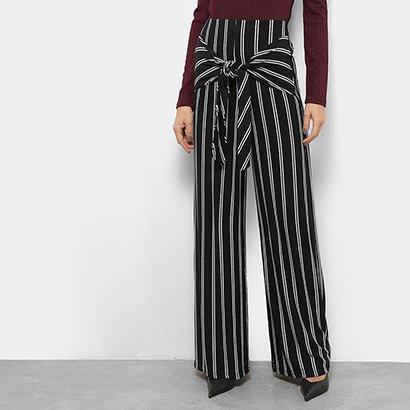 Calça Pantalona Mob Listrada Feminina