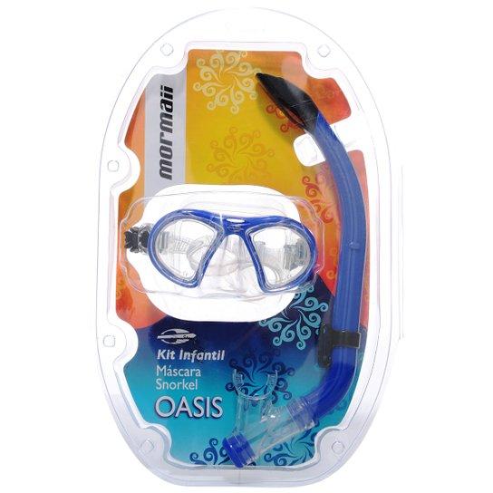 5055ada4e04c9 Kit Mormaii Máscara e Snorkel Oasis Infantil - Azul - Compre Agora ...