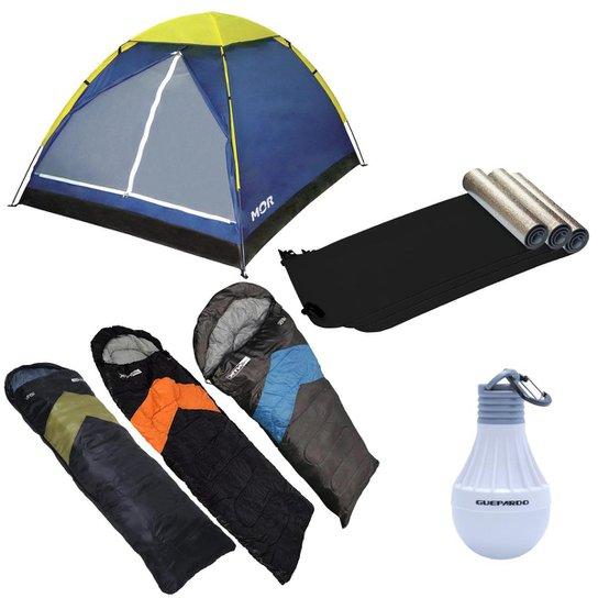 f75c3c0dd Barraca de Camping 4 Pessoas Mor + 3 Sacos de Dormir Viper + 3 Isolantes  Térmicos