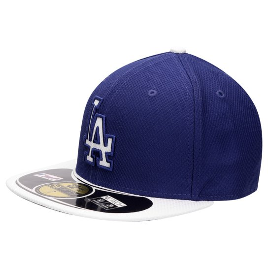 Boné New Era 5950 MLB Los Angeles Dodgers - Azul Royal+Branco 18e53b2367d