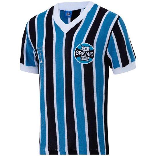 b2a9f8c2858a3 Camisa Retrô Grêmio Libertadores 1983 Masculina - Azul e Preto ...