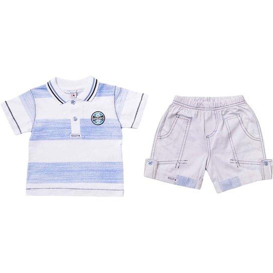 Conjunto Polo Shorts Meia Malha Oxford Menino Grêmio Reve Dor - 1 Ano -  Azul+ d65d1489b90a2