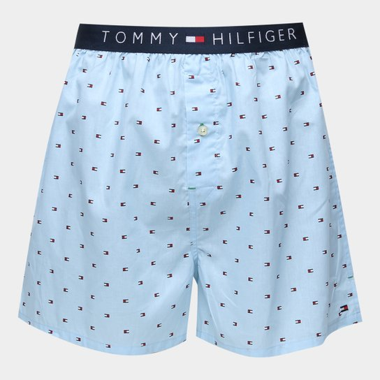 56222294624cdc Cueca Samba Canção Tommy Hilfiger Estampa Logo - Azul