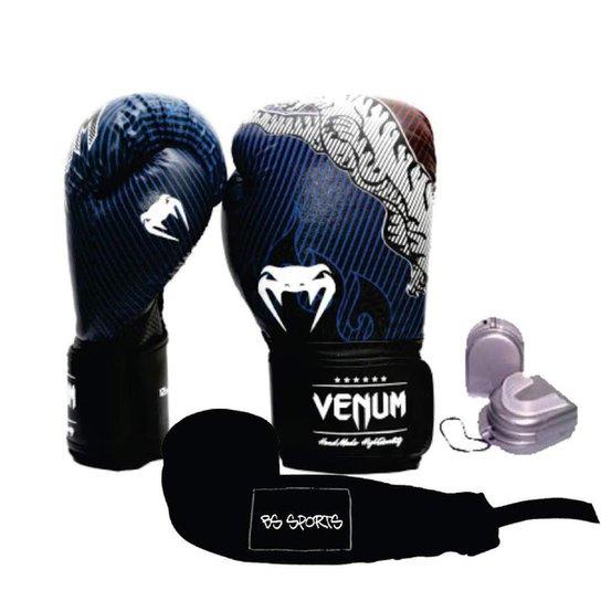 76c2391f7 Kit Boxe Muaythai Venum Tiger Legend 12oz + Bandagem + Bucal - Azul