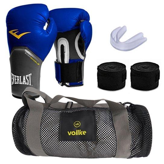 38757cb9c Kit Muay Thai com Luva Everlast e Bolsa Vollke + bandagem+ protetor bucal -  14oz -