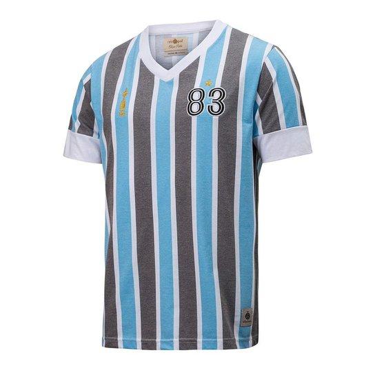 0840314321 Camisa Retrô Gol Grêmio Réplica 83 Libertadores Masculina - Azul+Preto ...