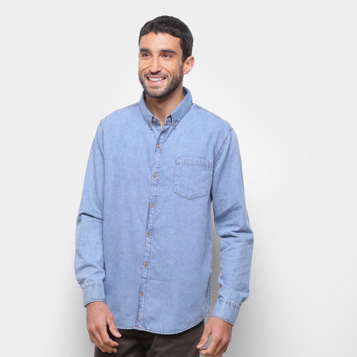 Camisa Jeans Manga Longa Hering Bolso Masculina