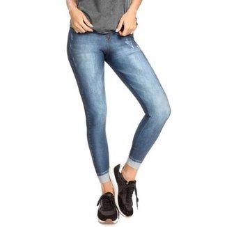 Calça Legging Jeans Plus Motivation Live! Feminina 7bbe98726d089