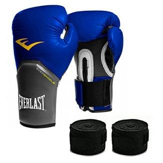 4cdc474fc Kit Muay Thai Luva Everlast + Bandagem 16oz