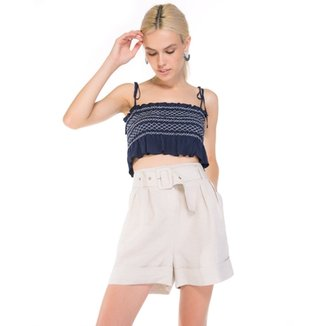 Top Amaro Cropped Com Bordados