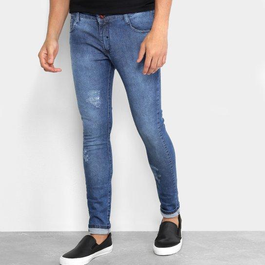 691094a06c Calça Jeans Skinny Ecko Puídos Masculina - Azul
