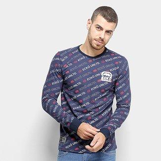 4e46525519 Camiseta Manga Longa Ecko Estampa Diagonal Especial Masculina