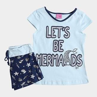 5fb70d5ce7a Pijama Infantil Daisy Days Curto Mermaids Feminino