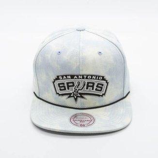Boné Mitchell   Ness Light Acid Wash NBA San Antonio Spurs Snapback d7a2fb50b56