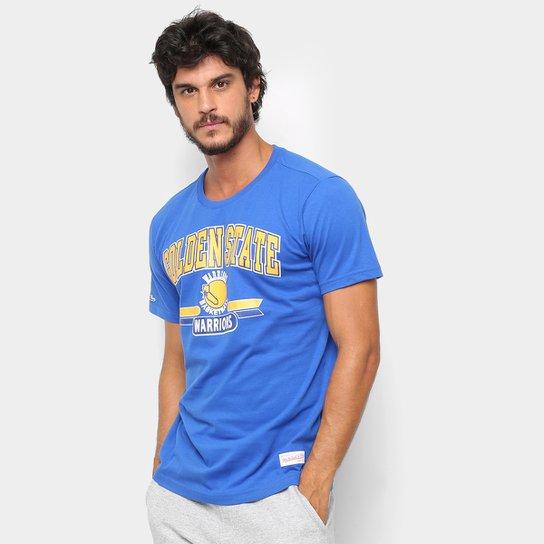 Camiseta NBA Golden State Warriors Mitchell   Ness 3 Pontos Masculina - Azul ef9d30149f0