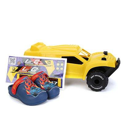 Sandália Infantil Grendene Kids Hot Wheels Monster Truck Babuche Com Carrinho