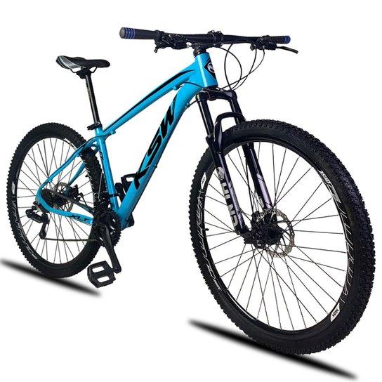 dfafa649b Bicicleta Aro 29 KSW XLT 21v Câmbios Shimano Freio a Disco Mecânico com  Suspensão - Azul