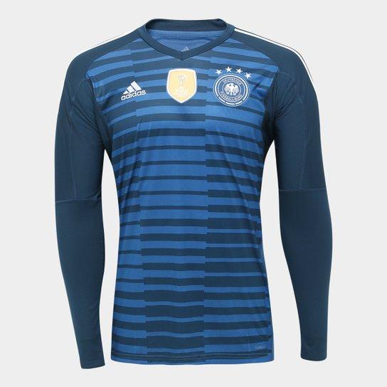 Camisa de Goleiro Alemanha 17 18 s n° Torcedor Adidas Masculina - Azul 25f0a0b2dd19f