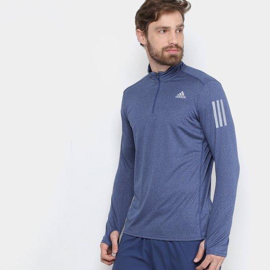 fd5b98bb44 Camiseta Adidas Manga Longa Rs Ls Zip Masculina - Azul - Compre ...