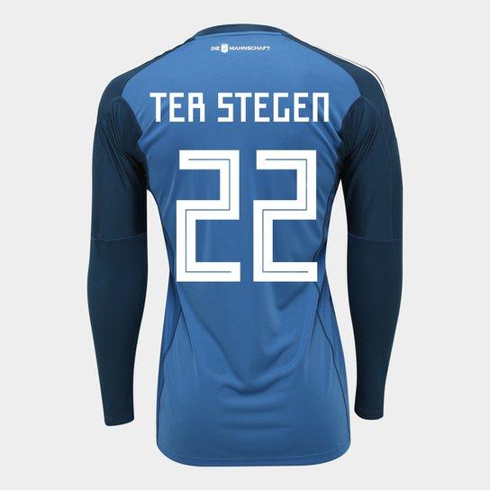 Camisa de Goleiro Alemanha 2018 n° 22 Ter Stegen - Torcedor Adidas  Masculina - Azul a681ab5c5af3c