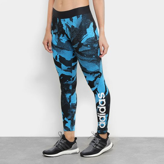 2e2d4e65b4e Calça Legging Adidas Aop Tight Feminina - Azul e Preto - Compre ...