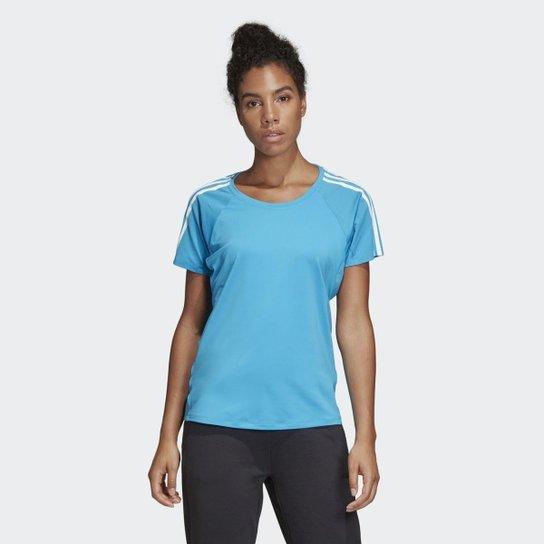 1848f2b9d Camiseta Adidas 3 Stripes Feminina - Azul | Netshoes